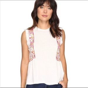 Free People Marcy Embroidered Peplum Tank Top